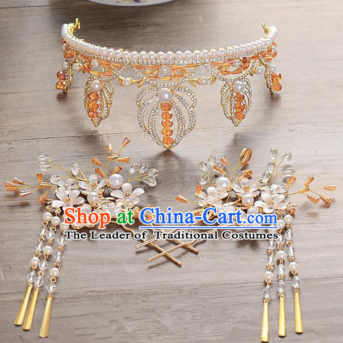 Top Grade Handmade Hair Accessories Baroque Luxury Crystal Pearls Royal Crown, Bride Wedding Hair Kether Jewellery Princess Imperial Crown for Women