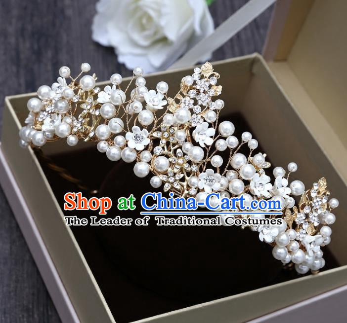 Top Grade Handmade Hair Accessories Baroque Luxury Crystal Leaf Pearls Royal Crown, Bride Wedding Hair Kether Jewellery Princess Imperial Crown for Women