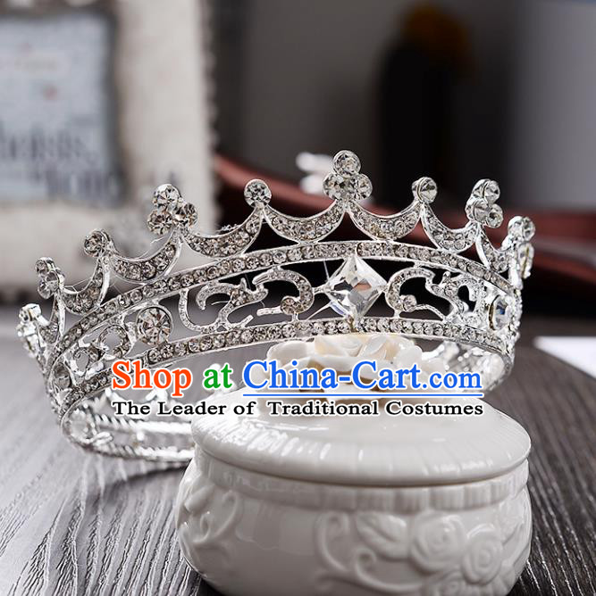 Top Grade Handmade Hair Accessories Baroque Luxury Crystal Round Royal Crown, Bride Wedding Hair Kether Jewellery Princess Imperial Crown for Women