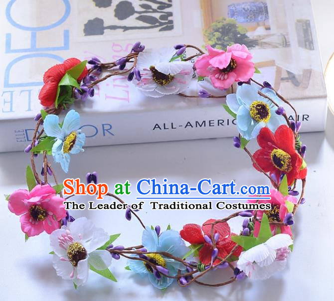 Top Grade Handmade Chinese Classical Hair Accessories Princess Wedding Baroque Colorful Flowers Garland Hair Clasp Headband Bride Headband for Women