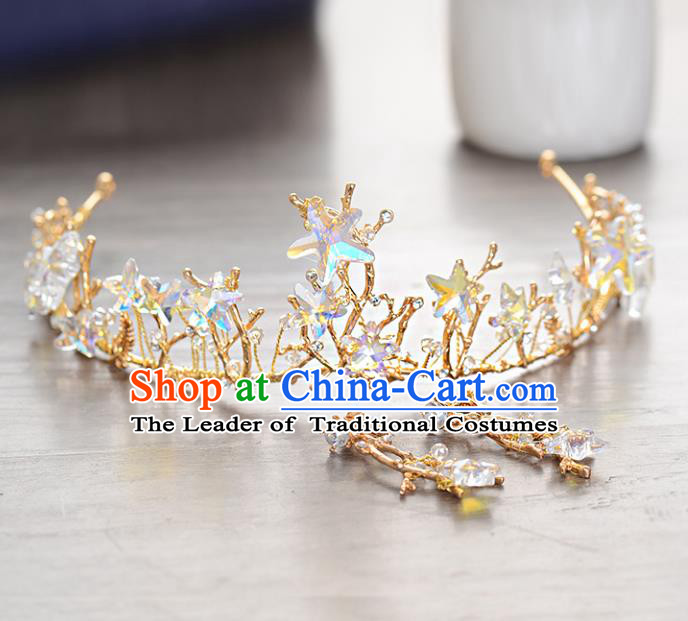 Top Grade Handmade Hair Accessories Baroque Style Palace Princess Wedding Crystal Stars Vintage Royal Crown, Bride Hair Kether Jewellery Imperial Crown for Women