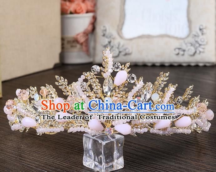 Top Grade Handmade Hair Accessories Baroque Style Palace Princess Wedding Pink Opal Crystal Vintage Royal Crown, Bride Hair Kether Jewellery Imperial Crown for Women