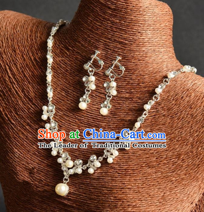 Top Grade Handmade Chinese Classical Full Dress Jewelry Accessories Wedding Tassel Pearls Crystal Necklace and Earrings Bride Hanfu Headgear for Women