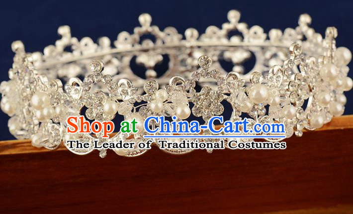 Top Grade Handmade Hair Accessories Baroque Style Princess Crystal Pearls Vintage Royal Crown, Bride Wedding Hair Kether Jewellery Round Imperial Crown for Women