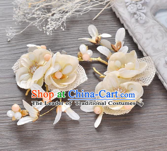 Top Grade Handmade Chinese Classical Hair Accessories Princess Wedding Baroque Beige Flower Hair Claw Headband Bride Headwear for Women