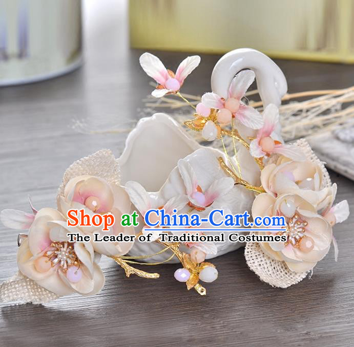 Top Grade Handmade Chinese Classical Hair Accessories Princess Wedding Baroque Pink Flower Hair Claw Headband Bride Headwear for Women