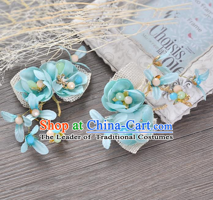 Top Grade Handmade Chinese Classical Hair Accessories Princess Wedding Baroque Blue Flower Hair Claw Headband Bride Headwear for Women