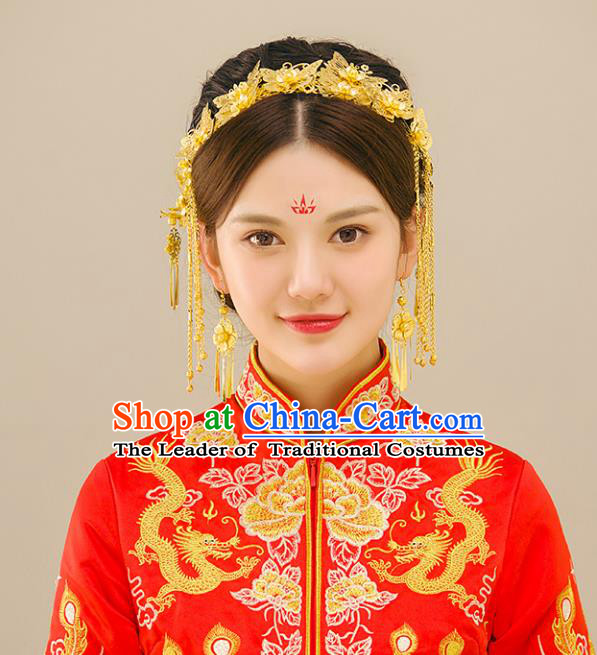 Traditional Handmade Chinese Ancient Wedding Butterfly Hair Accessories Complete Set Xiuhe Suit Phoenix Coronet, Bride Palace Lady Tassel Step Shake Hanfu Hairpins for Women