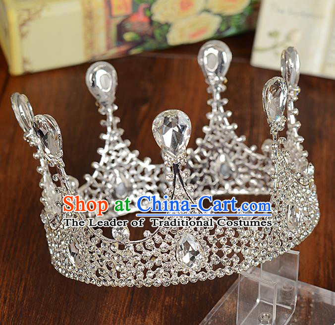Top Grade Handmade Hair Accessories Baroque Queen Crystal Round Royal Crown, Bride Wedding Hair Kether Jewellery Imperial Crown for Women