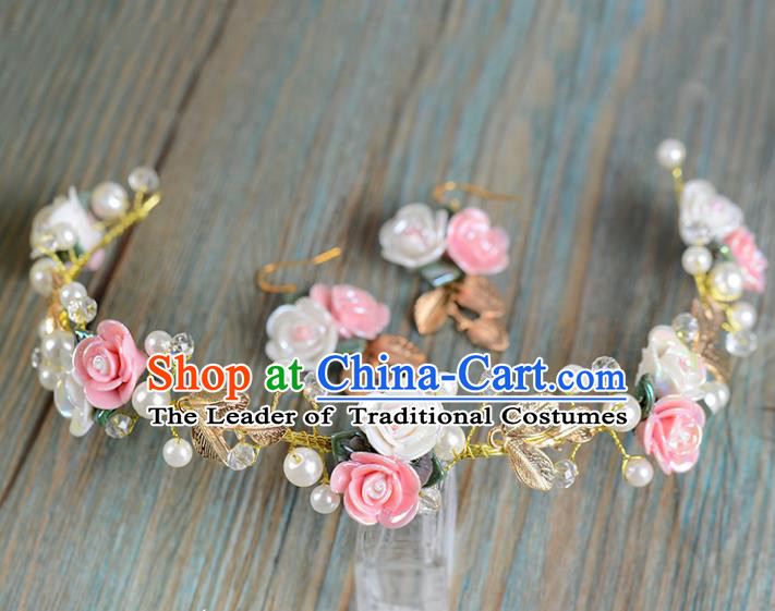 Top Grade Handmade Chinese Classical Hair Accessories Princess Wedding Baroque Ceramics Flower Garland Hair Clasp Bride Headband Headwear and Earrings for Women