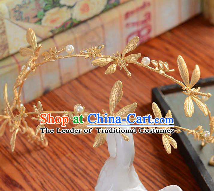 Top Grade Handmade Chinese Classical Hair Accessories Princess Wedding Baroque Golden Dragonfly Hair Clasp Bride Headband Headwear for Women
