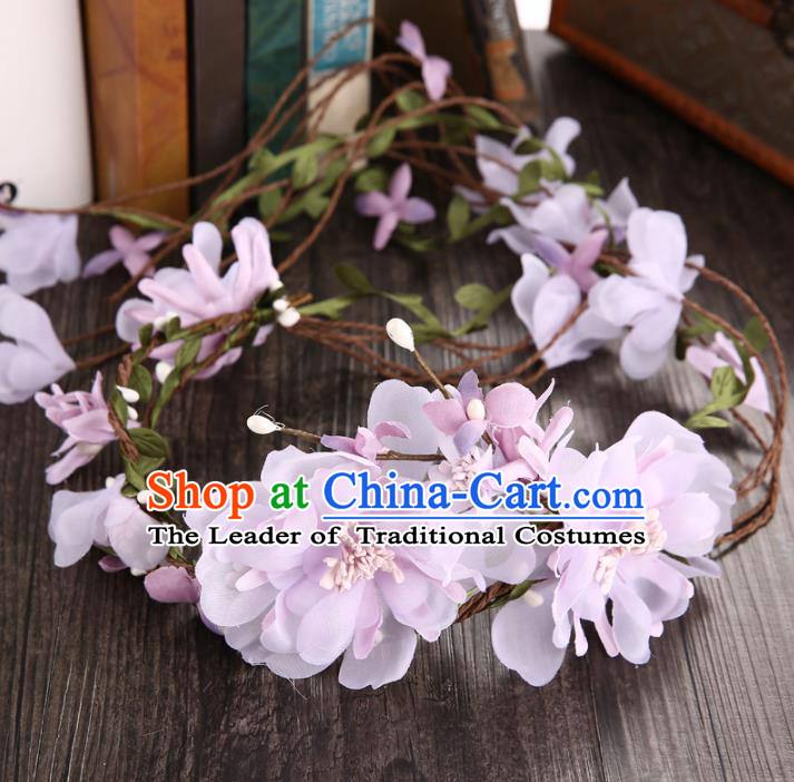 Top Grade Handmade Chinese Classical Hair Accessories Princess Wedding Baroque Hair Clasp Bride Purple Silk Flowers Headband Headwear for Women