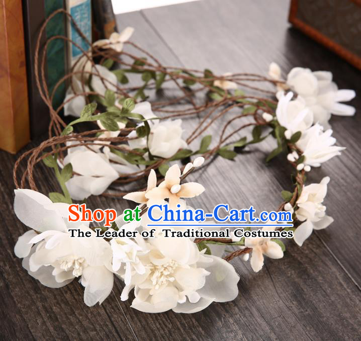 Top Grade Handmade Chinese Classical Hair Accessories Princess Wedding Baroque Hair Clasp Bride Beige Silk Flowers Headband Headwear for Women