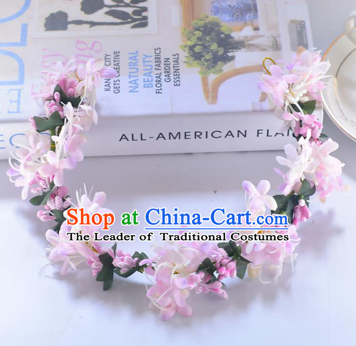 Top Grade Handmade Chinese Classical Hair Accessories Princess Wedding Baroque Pink Flower Garland Hair Clasp Headband Bride Headwear for Women