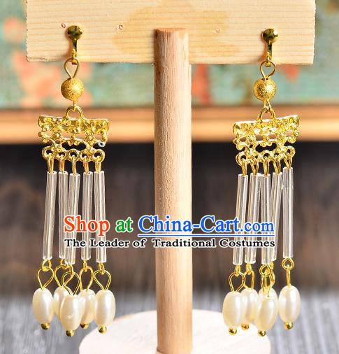 Top Grade Handmade Chinese Classical Full Dress Jewelry Accessories Wedding Tassel Pearls Earrings Bride Hanfu Eardrop for Women