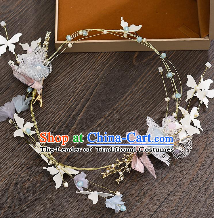 Top Grade Handmade Chinese Classical Hair Accessories Princess Wedding Baroque Silk Bowknot Hair Clasp Bride Headband Headwear for Women