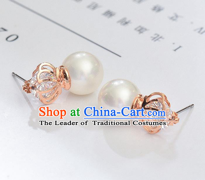 Top Grade Handmade Chinese Classical Jewelry Accessories Wedding Pearls Crown Earrings Bride Hanfu Eardrop for Women
