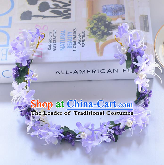 Top Grade Handmade Chinese Classical Hair Accessories Princess Wedding Baroque Purple Flower Garland Hair Clasp Headband Bride Headwear for Women