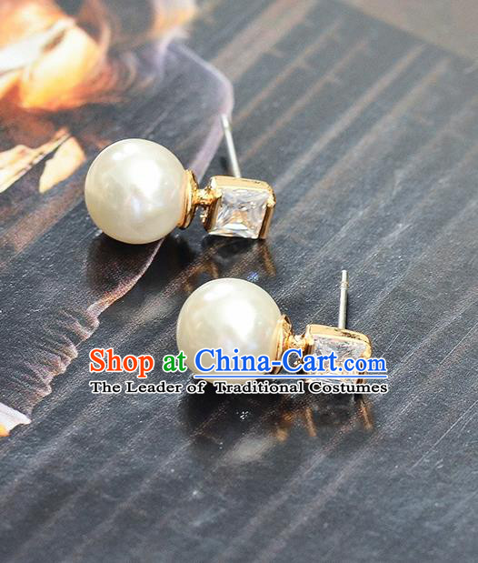 Top Grade Handmade Chinese Classical Jewelry Accessories Wedding Pearl Crystal Ear Stud Bride Hanfu Earrings for Women