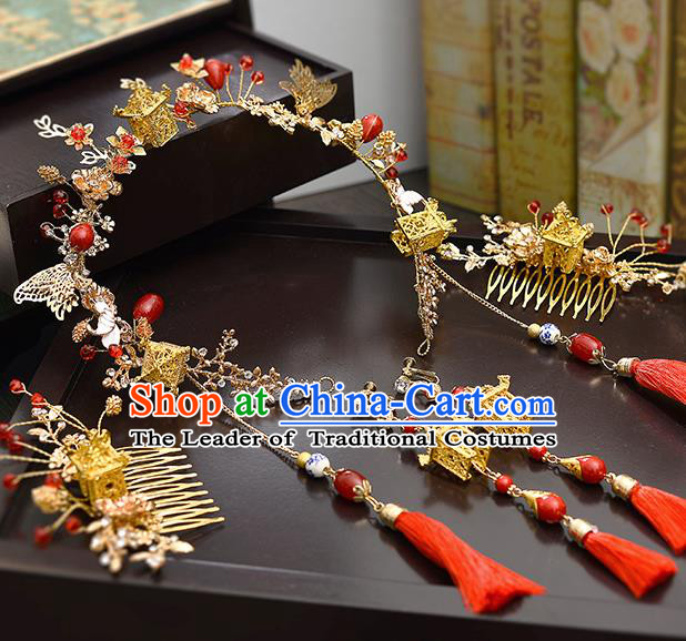 Traditional Handmade Chinese Ancient Wedding Butterfly Hair Accessories Complete Set Xiuhe Suit Tassel Hair Clasp, Bride Palace Lady Step Shake Hanfu Hairpins for Women