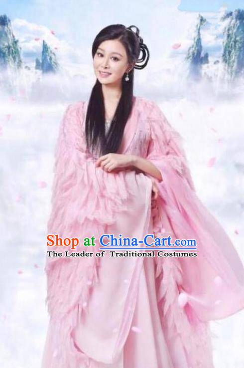 Traditional Chinese Ancient Times Fairy Embroidery Costume and Headpiece Complete Set, Xuan-Yuan Sword Legend: The Clouds of Han Chinese Ancient Princess Hanfu Dress for Women
