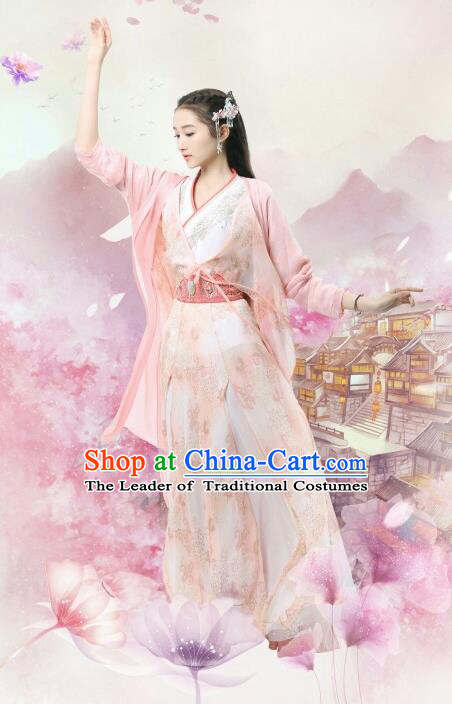 Traditional Chinese Ancient Times Princess Fairy Embroidery Costume and Headpiece Complete Set, Xuan-Yuan Sword Legend: The Clouds of Han Chinese Palace Lady Hanfu Dress for Women