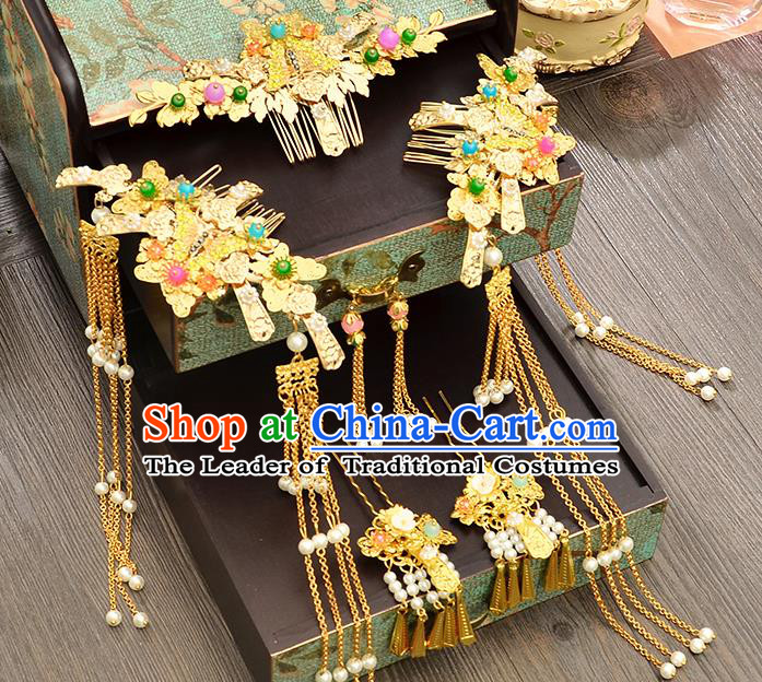 Traditional Handmade Chinese Ancient Costume Wedding Xiuhe Suit Bride Tassel Phoenix Coronet Hair Accessories Complete Set, Step Shake Hanfu Hairpins for Women
