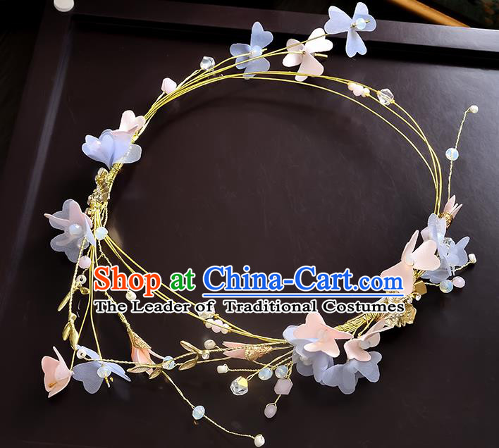 Top Grade Handmade Chinese Classical Hair Accessories Princess Wedding Baroque Silk Flowers Garland Hair Clasp Headband Bride Headband for Women