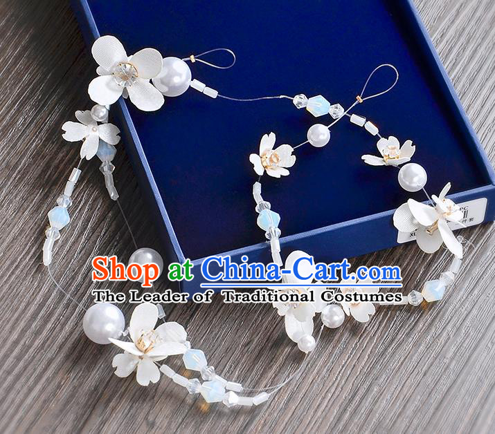 Top Grade Handmade Chinese Classical Hair Accessories Princess Wedding Baroque Pearls Flowers Garland Hair Clasp Headband Bride Headband for Women