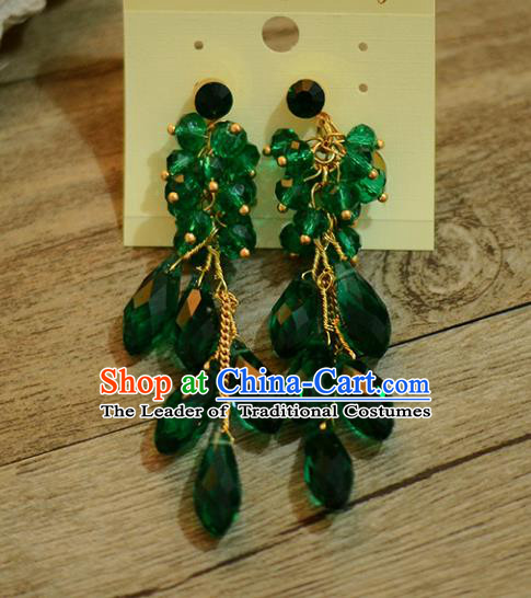 Top Grade Handmade Chinese Classical Jewelry Accessories Wedding Green Crystal Tassel Ear Stud Bride Hanfu Earrings for Women