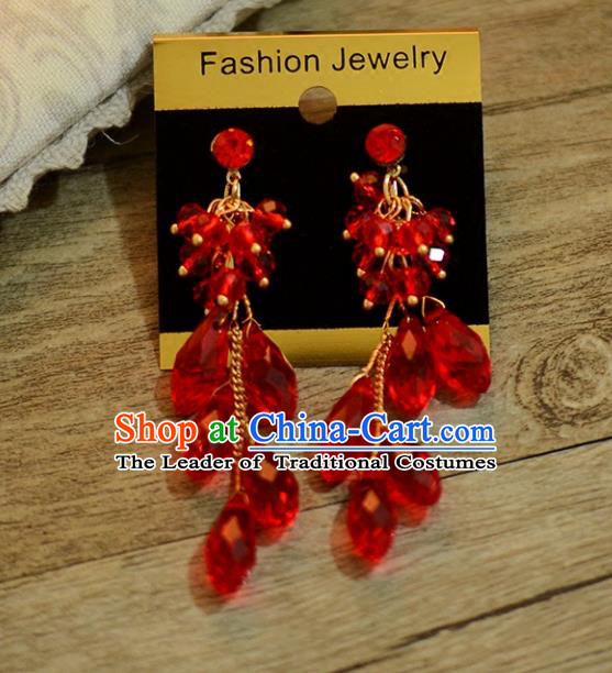 Top Grade Handmade Chinese Classical Jewelry Accessories Wedding Red Crystal Tassel Ear Stud Bride Hanfu Earrings for Women