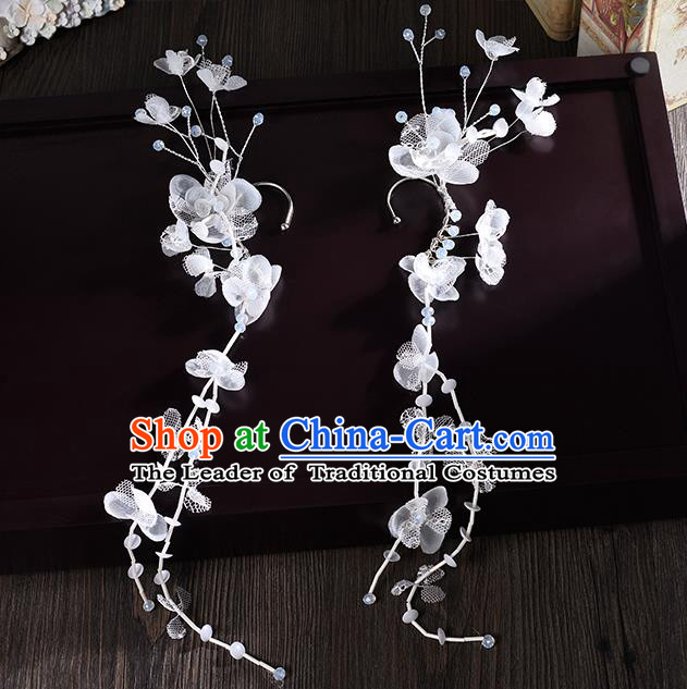 Top Grade Handmade Chinese Classical Jewelry Accessories Wedding Crystal Flower Ear Stud Bride Hanfu Earrings for Women