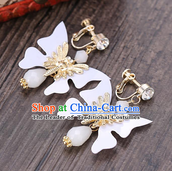 Top Grade Handmade Chinese Classical Jewelry Accessories Wedding White Butterfly Tassel Ear Stud Bride Hanfu Earrings for Women