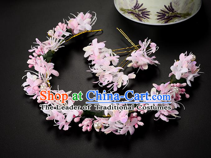 Top Grade Handmade Chinese Classical Hair Accessories Princess Wedding Baroque Headwear Pink Pearl Flowers Hair Clasp Bride Headband for Women
