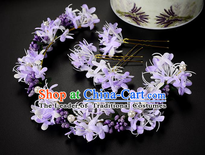 Top Grade Handmade Chinese Classical Hair Accessories Princess Wedding Baroque Headwear Purple Flowers Hairpins Hair Clasp Bride Headband for Women