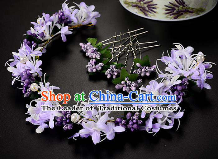 Top Grade Handmade Chinese Classical Hair Accessories Princess Wedding Baroque Headwear Purple Pearl Flowers Hair Clasp Bride Headband for Women