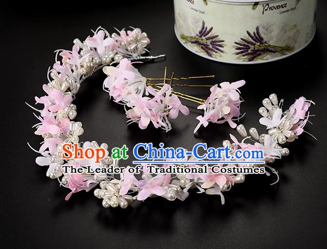 Top Grade Handmade Chinese Classical Hair Accessories Princess Wedding Baroque Headwear Pink Flowers Pearls Hairpins Hair Clasp Bride Headband for Women
