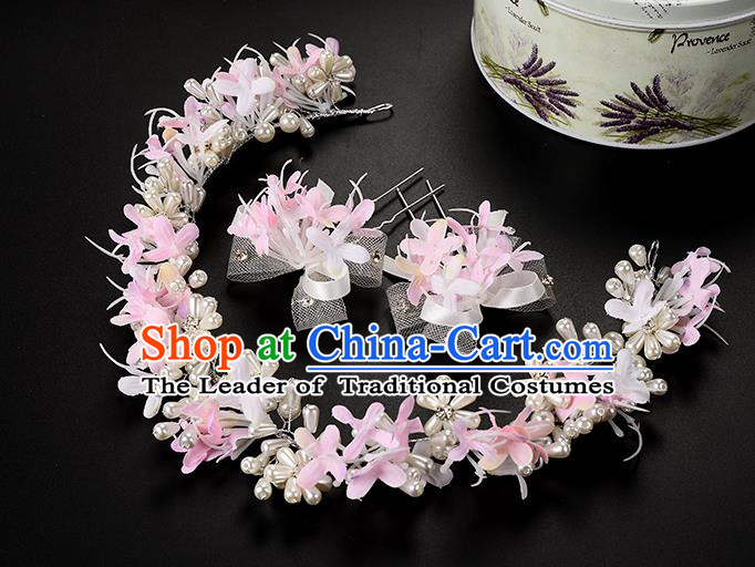 Top Grade Handmade Chinese Classical Hair Accessories Princess Wedding Baroque Headwear Pink Lace Flowers Pearls Hairpins Hair Clasp Bride Headband for Women