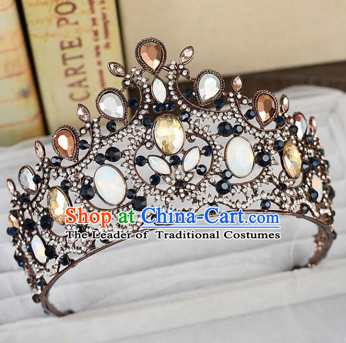 Top Grade Handmade Hair Accessories Baroque Queen Crystal Opal Royal Crown, Bride Wedding Hair Jewellery Princess Imperial Crown for Women