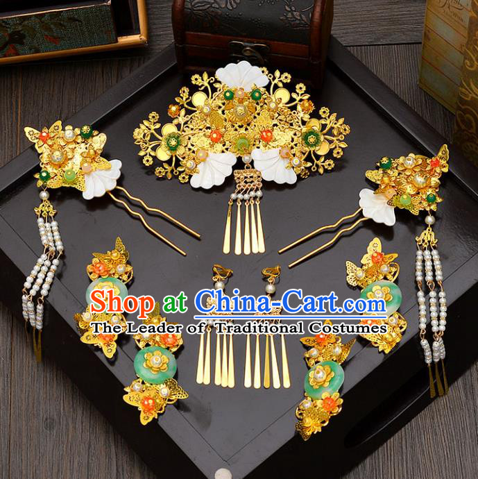Traditional Handmade Chinese Wedding Xiuhe Suit Bride Jade Tassel Phoenix Coronet Hair Accessories Complete Set, Step Shake Hanfu Hairpins for Women