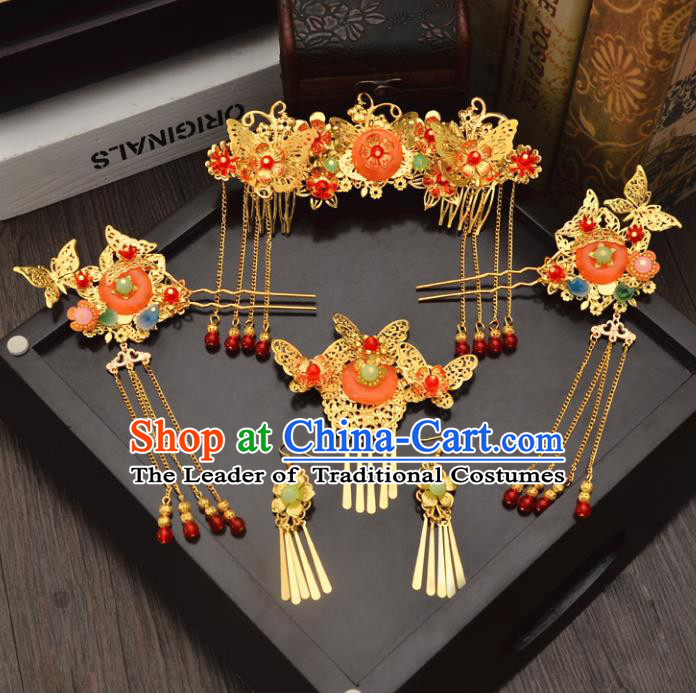 Traditional Handmade Chinese Wedding Xiuhe Suit Bride Blueing Tassel Hair Accessories Complete Set, Jade Phoenix Coronet Step Shake Hanfu Hairpins for Women
