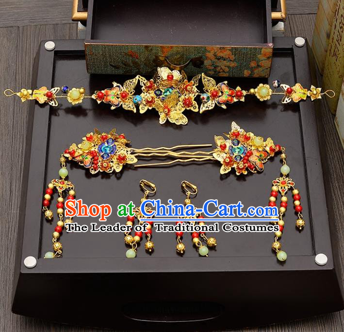 Traditional Handmade Chinese Wedding Xiuhe Suit Bride Cloisonne Butterfly Hair Accessories Complete Set, Jade Phoenix Coronet Step Shake Hanfu Hairpins for Women