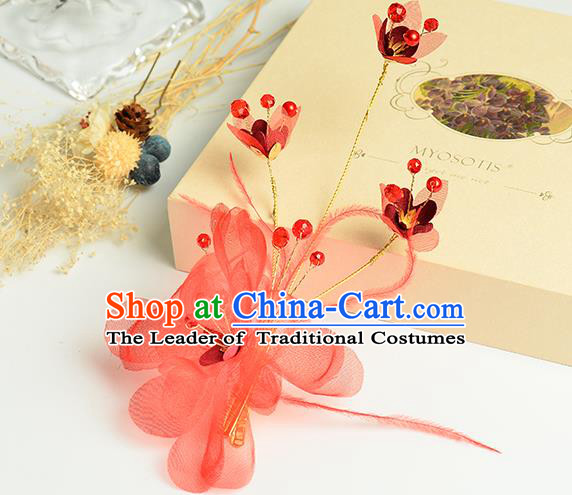 Top Grade Handmade Chinese Classical Hair Accessories Princess Wedding Baroque Headwear Red Silk Flowers Hair Claw Bride Headband for Women