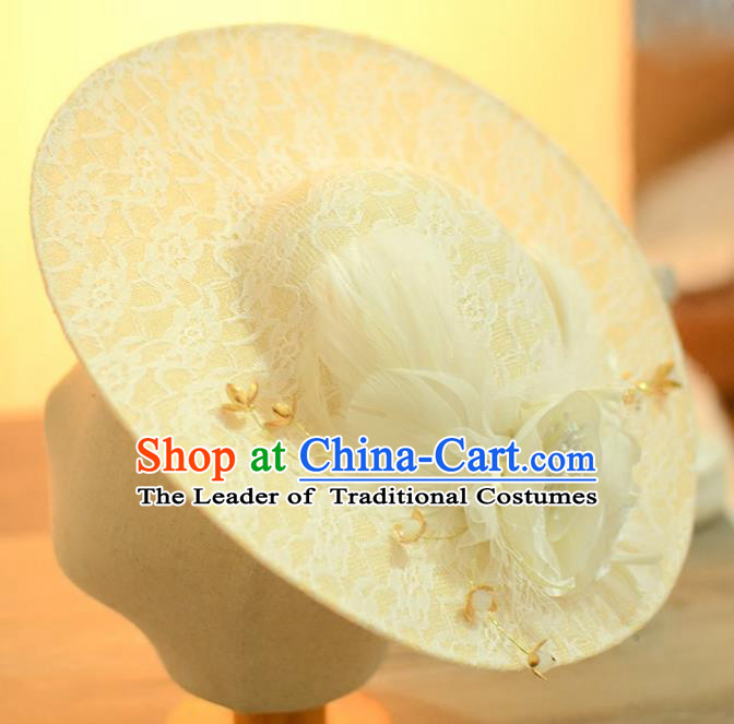 Top Grade Handmade Chinese Classical Hair Accessories Princess Wedding Baroque Hat Headwear Beige Flowers Feather Top Hat for Women