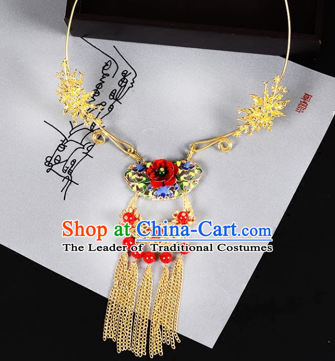 Top Grade Handmade Chinese Classical Jewelry Accessories Wedding Xiuhe Suit Tassel Necklace Bride Hanfu Necklet Headgear for Women