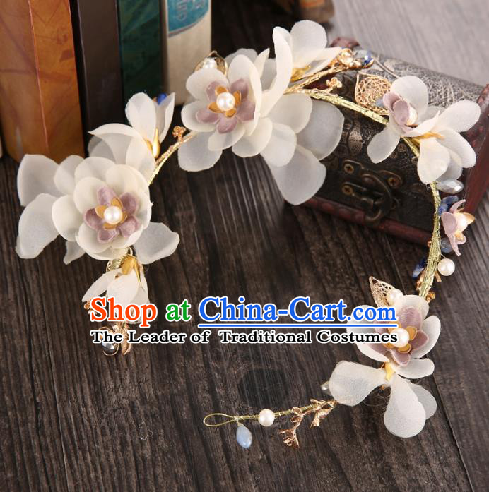 Top Grade Handmade Chinese Classical Hair Accessories Princess Wedding Baroque Headwear Beige Flowers Headband Hair Clasp for Women