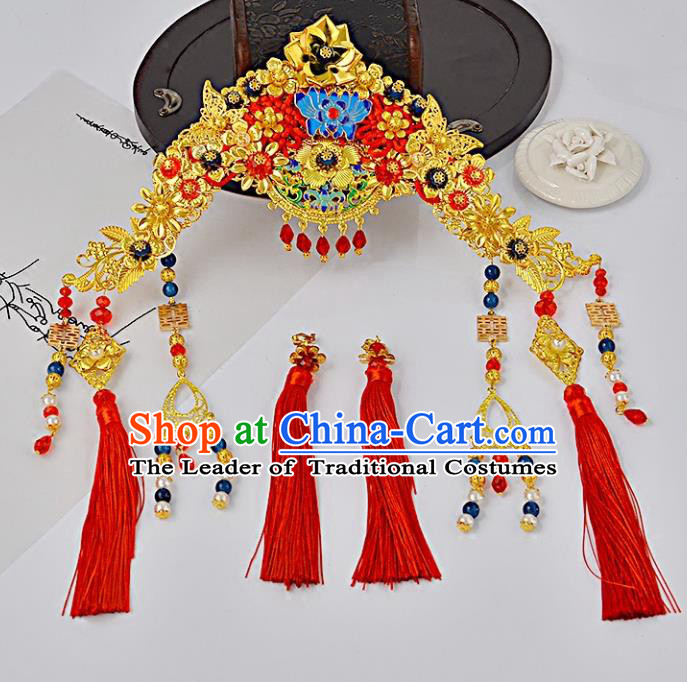 Traditional Handmade Chinese Wedding Xiuhe Suit Bride Hair Accessories Tassel Phoenix Coronet, Step Shake Hanfu Hairpins for Women