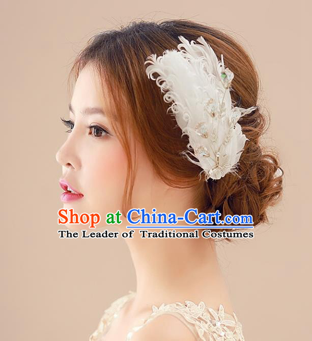 Top Grade Handmade Chinese Classical Hair Accessories Princess Wedding Baroque Headwear White Feather Headband Hair Stick for Women