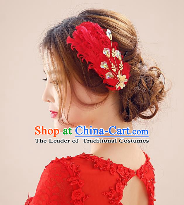 Top Grade Handmade Chinese Classical Hair Accessories Princess Wedding Baroque Headwear Red Feather Headband Hair Stick for Women