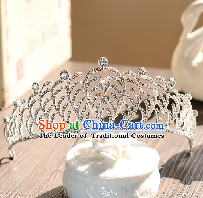 Top Grade Handmade Hair Accessories Baroque Zircon Imperial Crown, Bride Wedding Hair Jewellery Princess Crystal Crown for Women